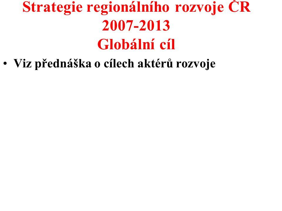 Strategie regionálního rozvoje ČR 2007-2013 Globální cíl