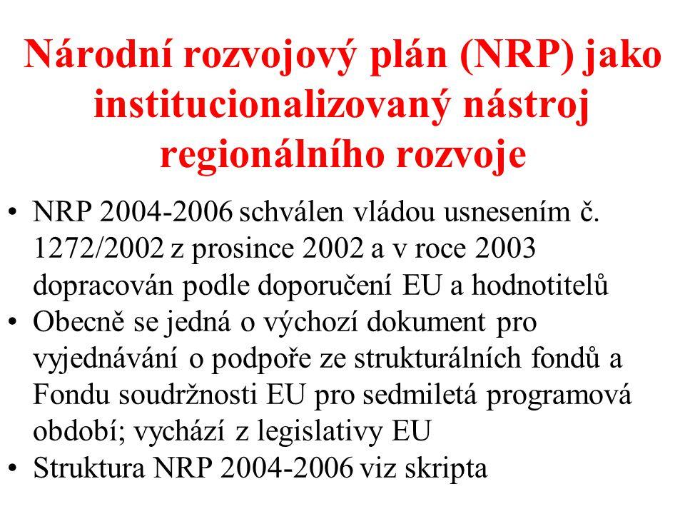 Národní rozvojový plán (NRP) jako institucionalizovaný nástroj regionálního rozvoje