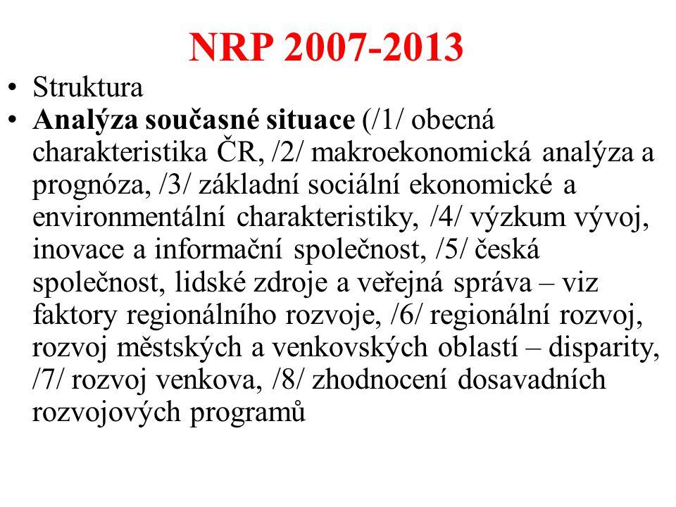 NRP 2007-2013 Struktura.