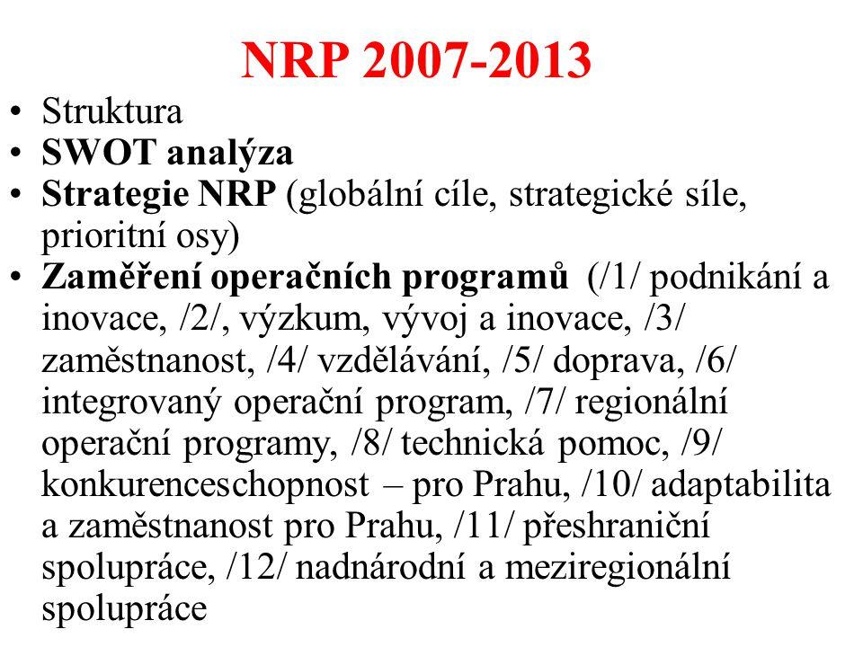 NRP 2007-2013 Struktura SWOT analýza