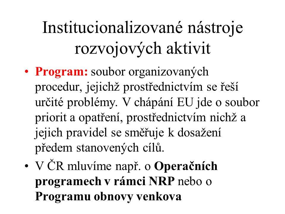 Institucionalizované nástroje rozvojových aktivit