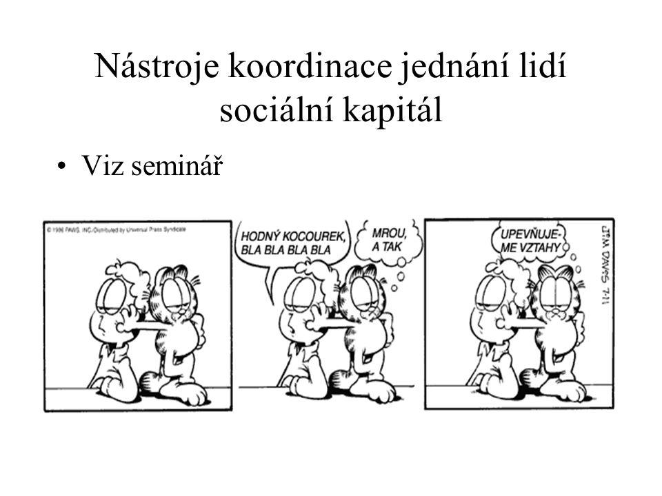 Nástroje koordinace jednání lidí sociální kapitál
