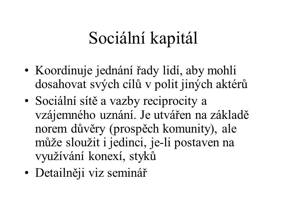 Sociální kapitál Koordinuje jednání řady lidí, aby mohli dosahovat svých cílů v polit jiných aktérů.