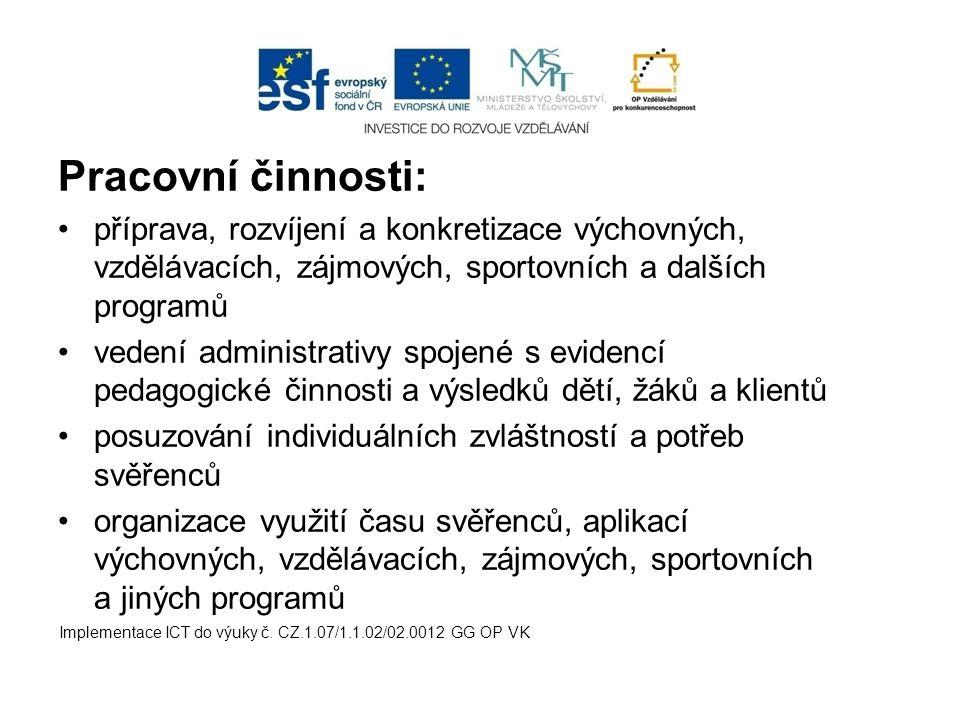 Pracovní činnosti: příprava, rozvíjení a konkretizace výchovných, vzdělávacích, zájmových, sportovních a dalších programů.