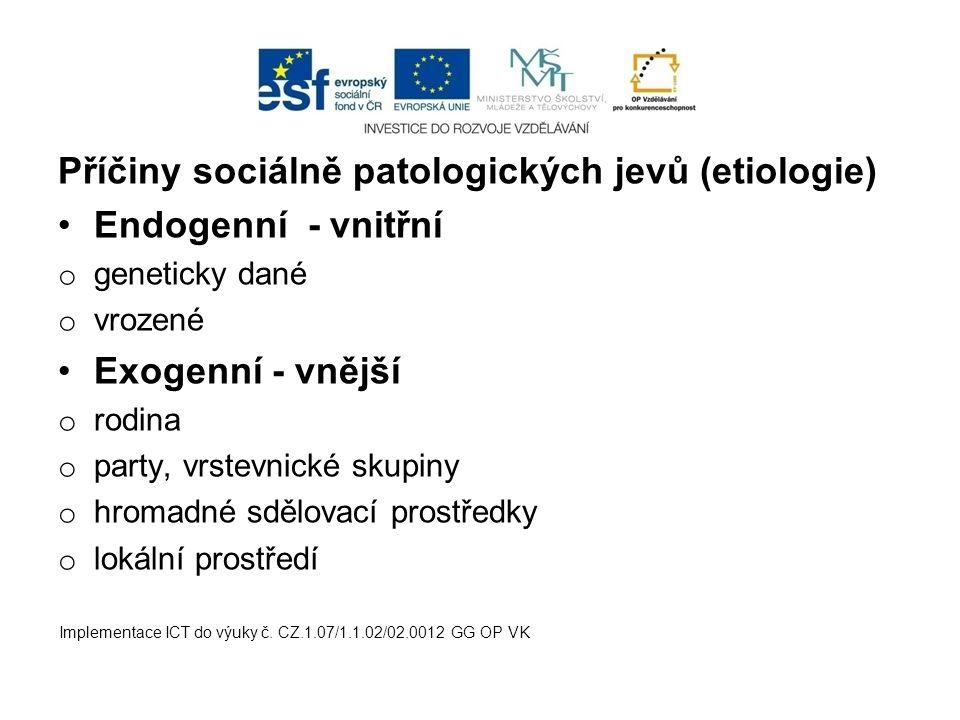 Příčiny sociálně patologických jevů (etiologie) Endogenní - vnitřní