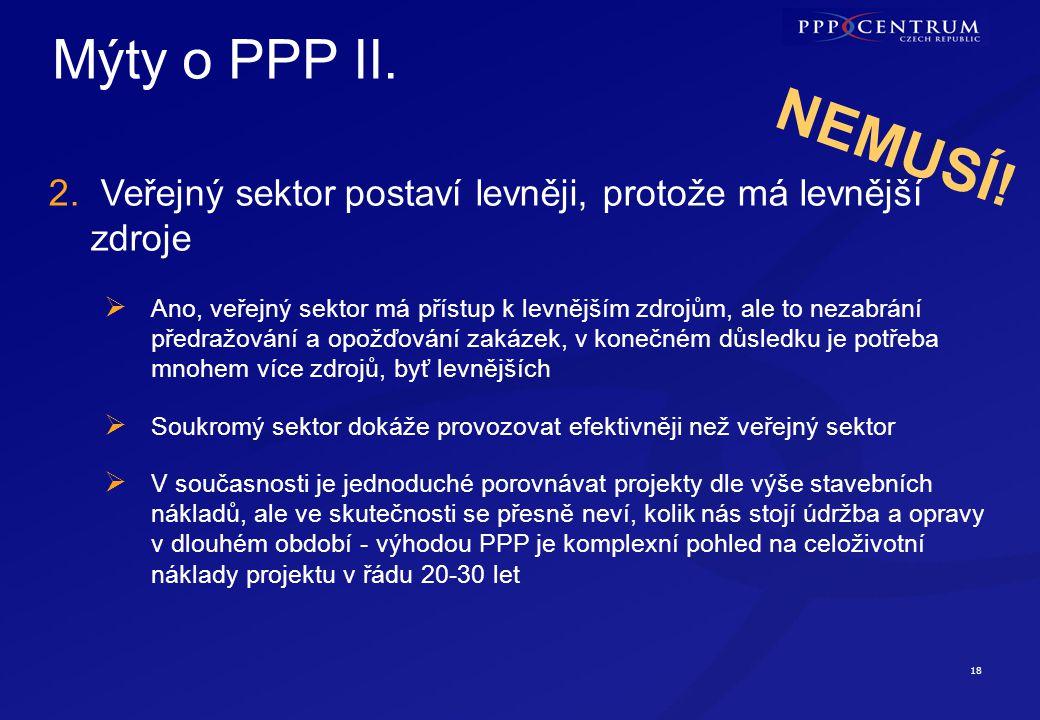 NEMUSÍ! Mýty o PPP III. 3. PPP projekt si na sebe musí vydělat