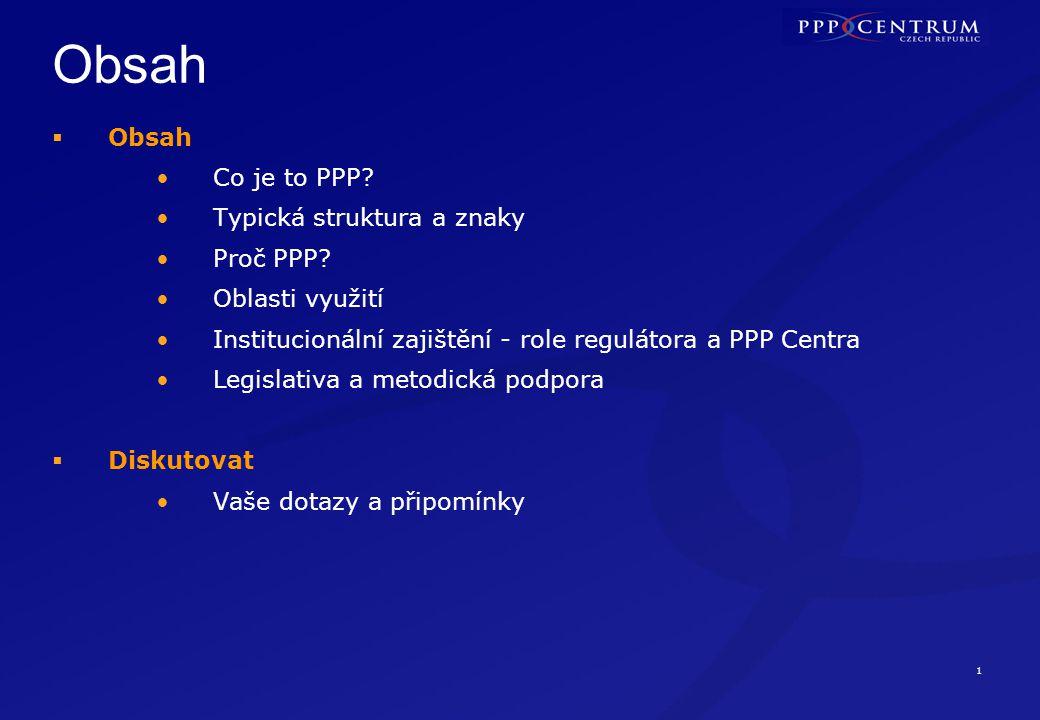 Co je to PPP PPP je jedním ze způsobů jak zadat projekt zajištění veřejné služby nebo infrastruktury.