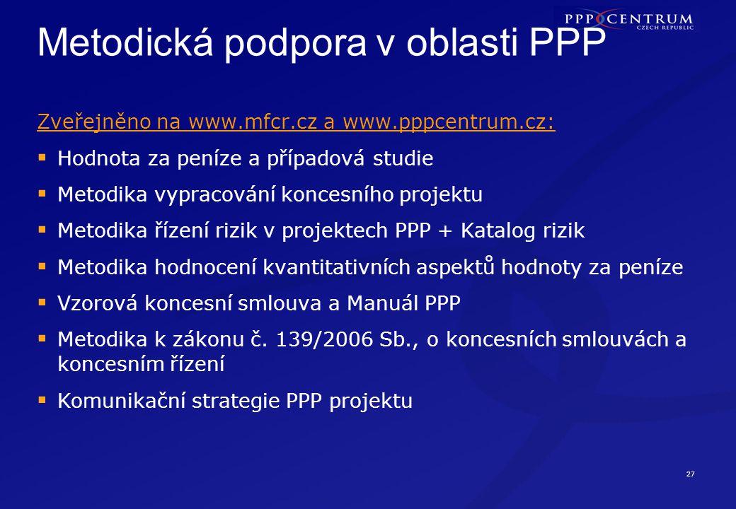 Přehled rozvoje trhu PPP v ČR