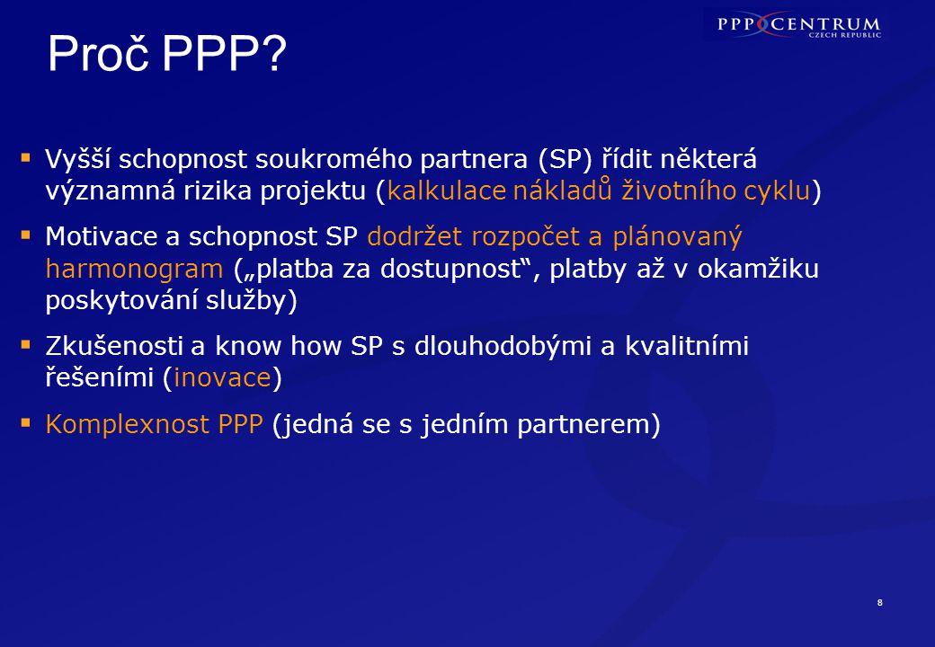 Proč PPP Platba za kvalitně poskytovanou veřejnou službu (specifikace výstupů nikoli vstupů)