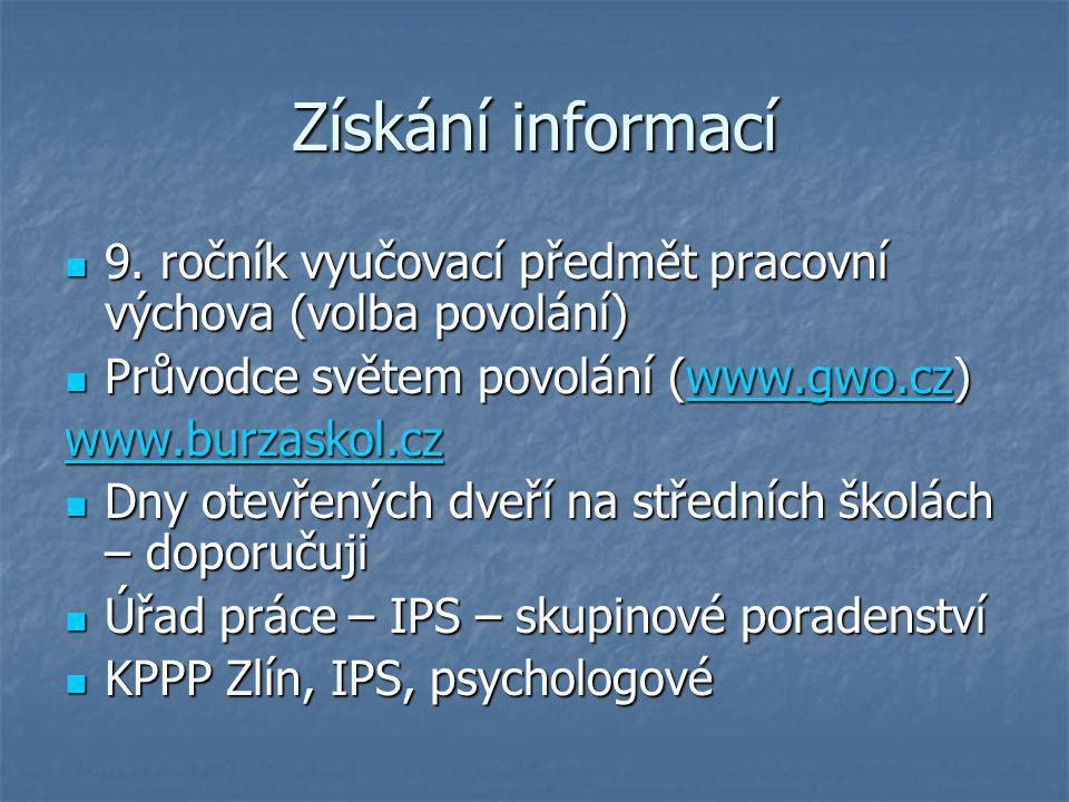 Získání informací 9. ročník vyučovací předmět pracovní výchova (volba povolání) Průvodce světem povolání (www.gwo.cz)