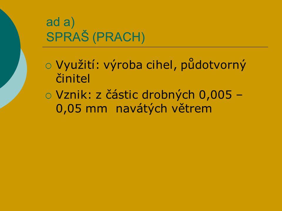 ad a) SPRAŠ (PRACH) Využití: výroba cihel, půdotvorný činitel