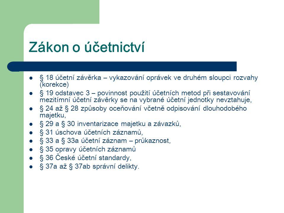 Zákon o účetnictví § 18 účetní závěrka – vykazování oprávek ve druhém sloupci rozvahy (korekce)