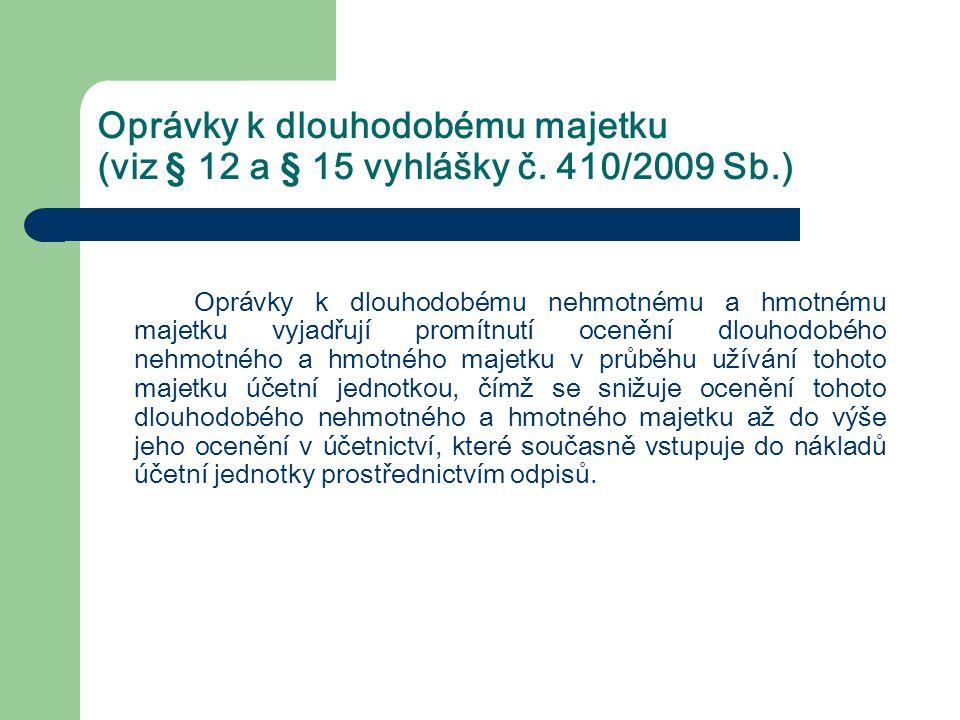 Oprávky k dlouhodobému majetku (viz § 12 a § 15 vyhlášky č. 410/2009 Sb.)