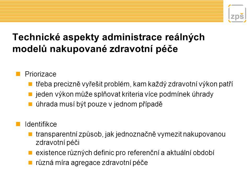 Technické aspekty administrace reálných modelů nakupované zdravotní péče