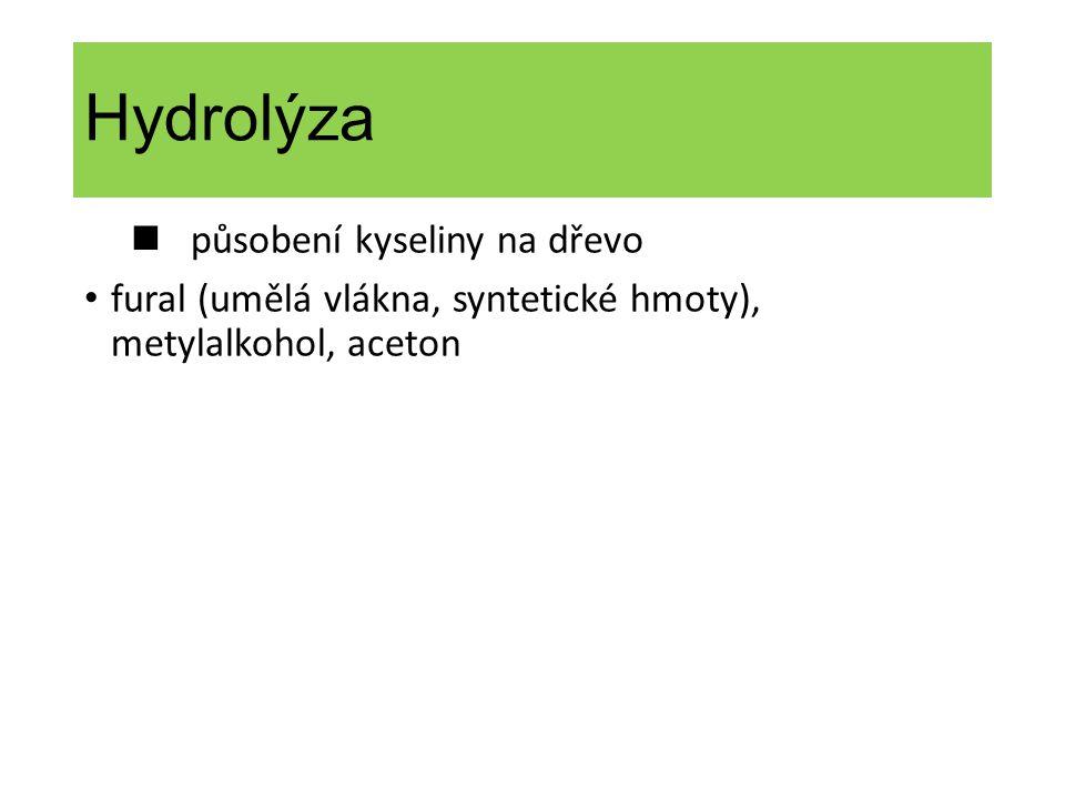 Hydrolýza n působení kyseliny na dřevo