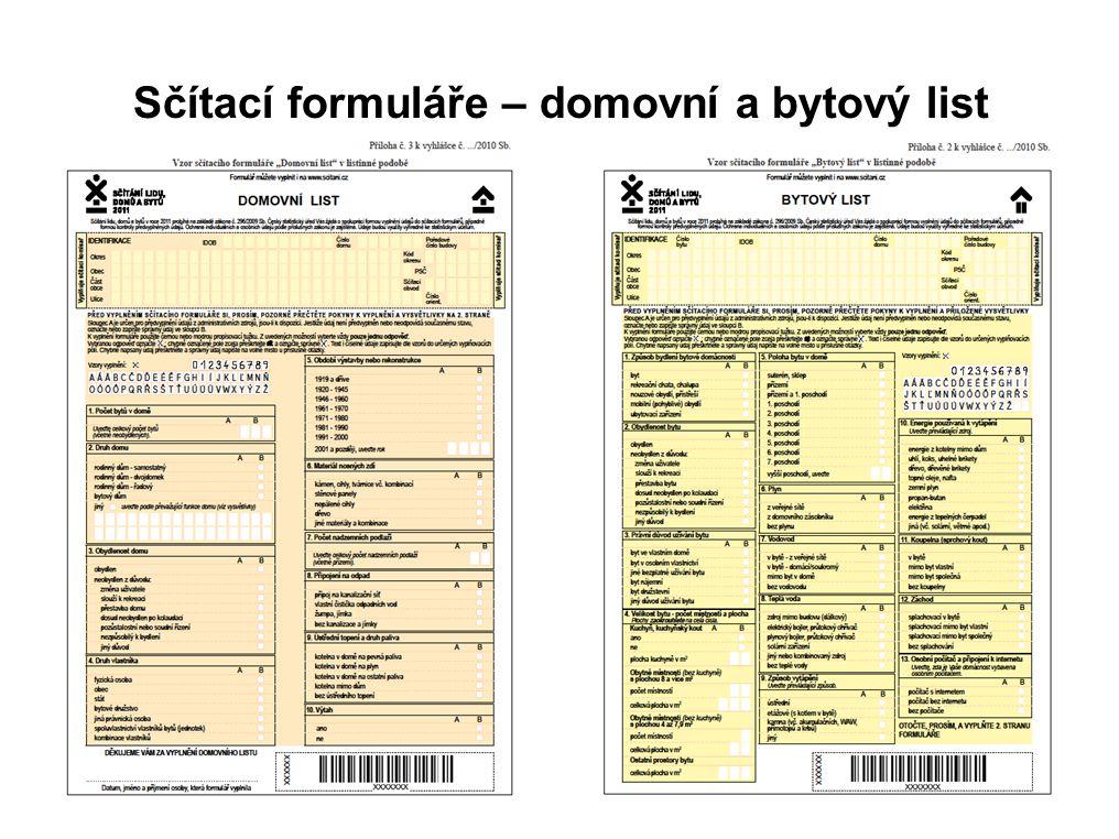 Sčítací formuláře – domovní a bytový list
