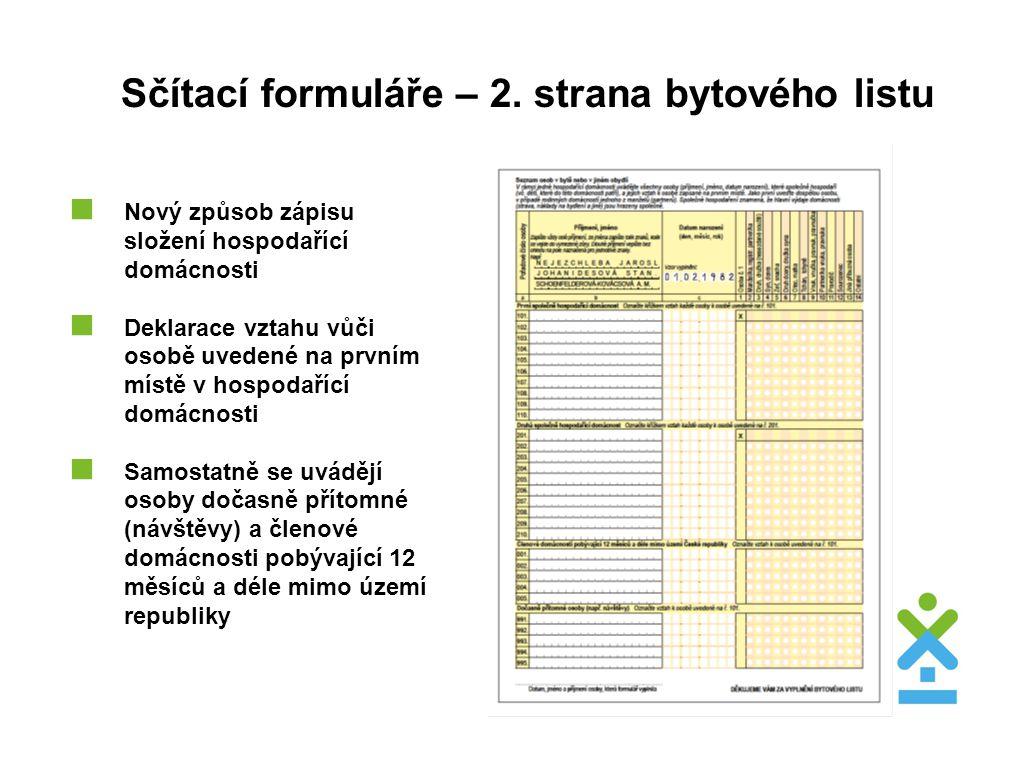 Sčítací formuláře – 2. strana bytového listu