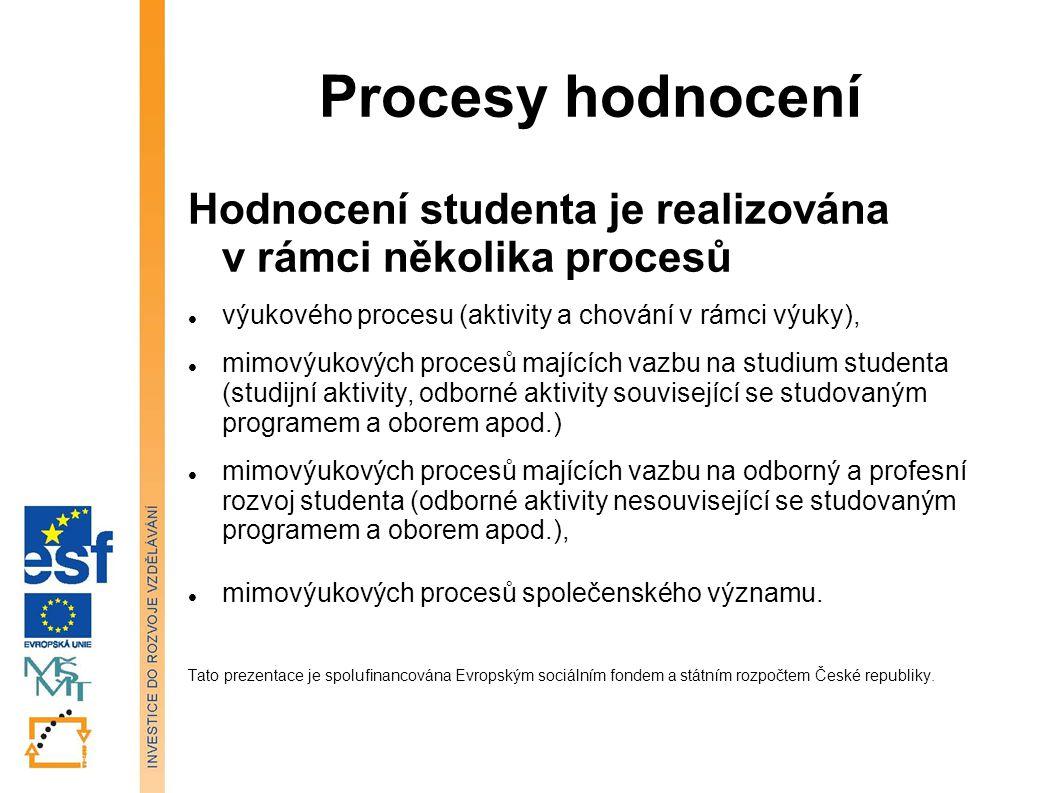 Procesy hodnocení Hodnocení studenta je realizována v rámci několika procesů. výukového procesu (aktivity a chování v rámci výuky),