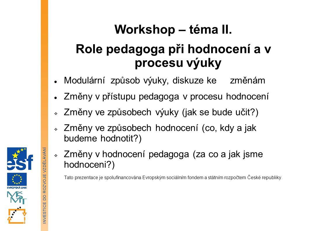Role pedagoga při hodnocení a v procesu výuky