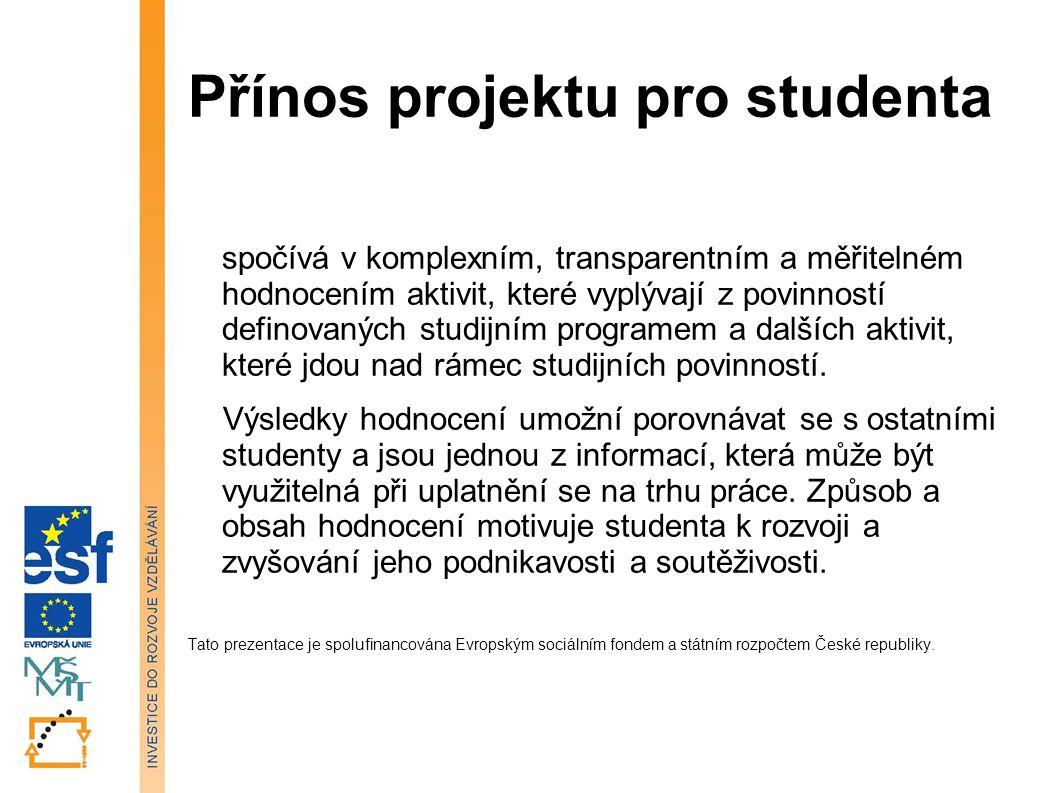 Přínos projektu pro studenta