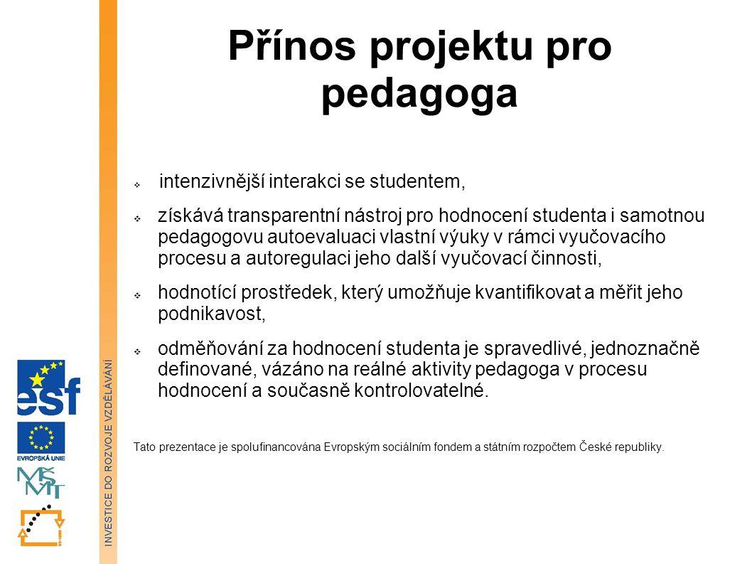 Přínos projektu pro pedagoga