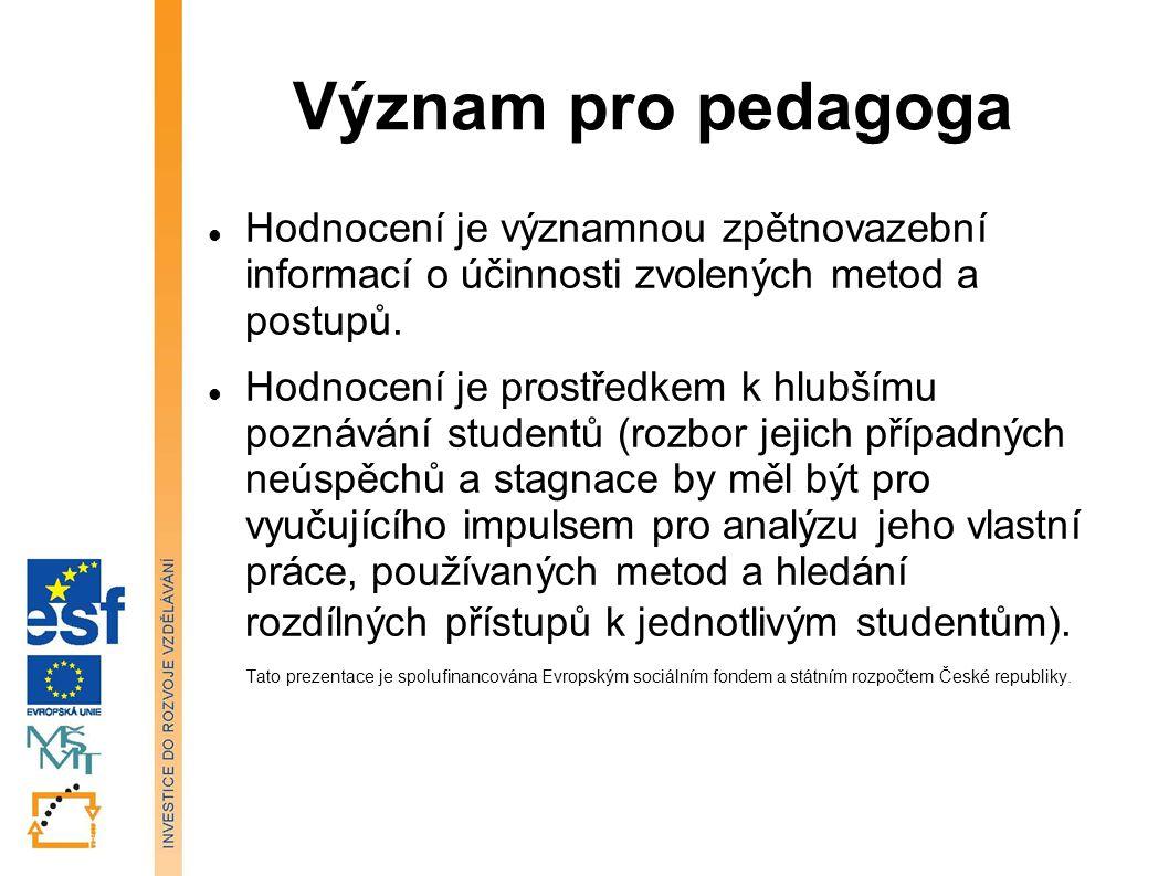 Význam pro pedagoga Hodnocení je významnou zpětnovazební informací o účinnosti zvolených metod a postupů.