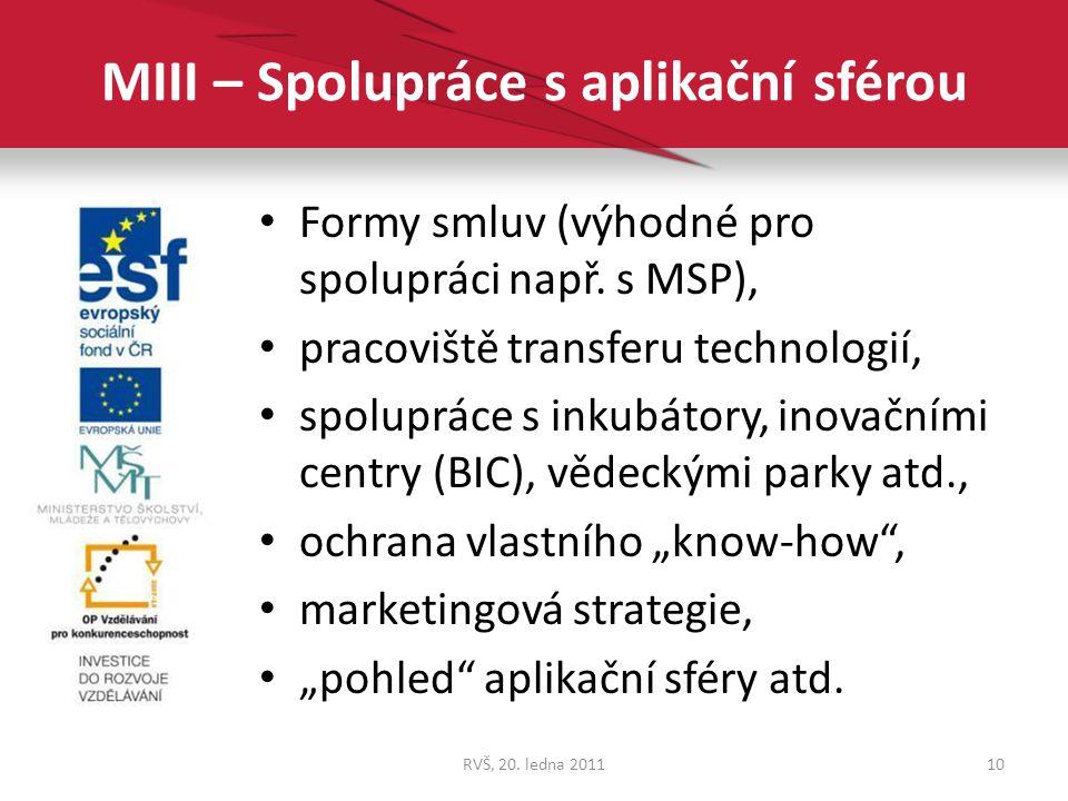 MIII – Spolupráce s aplikační sférou