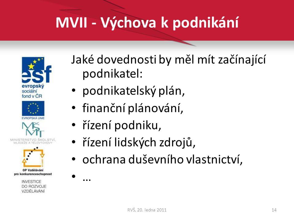 MVII - Výchova k podnikání