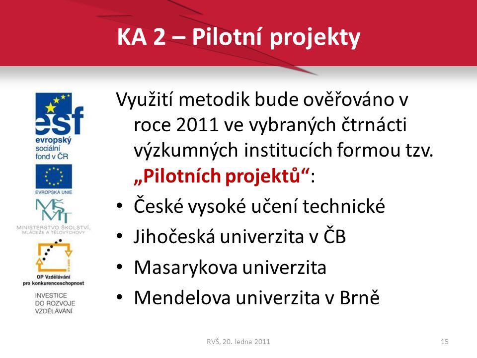 """KA 2 – Pilotní projekty Využití metodik bude ověřováno v roce 2011 ve vybraných čtrnácti výzkumných institucích formou tzv. """"Pilotních projektů :"""