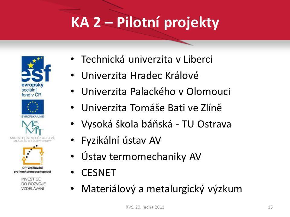 KA 2 – Pilotní projekty Technická univerzita v Liberci