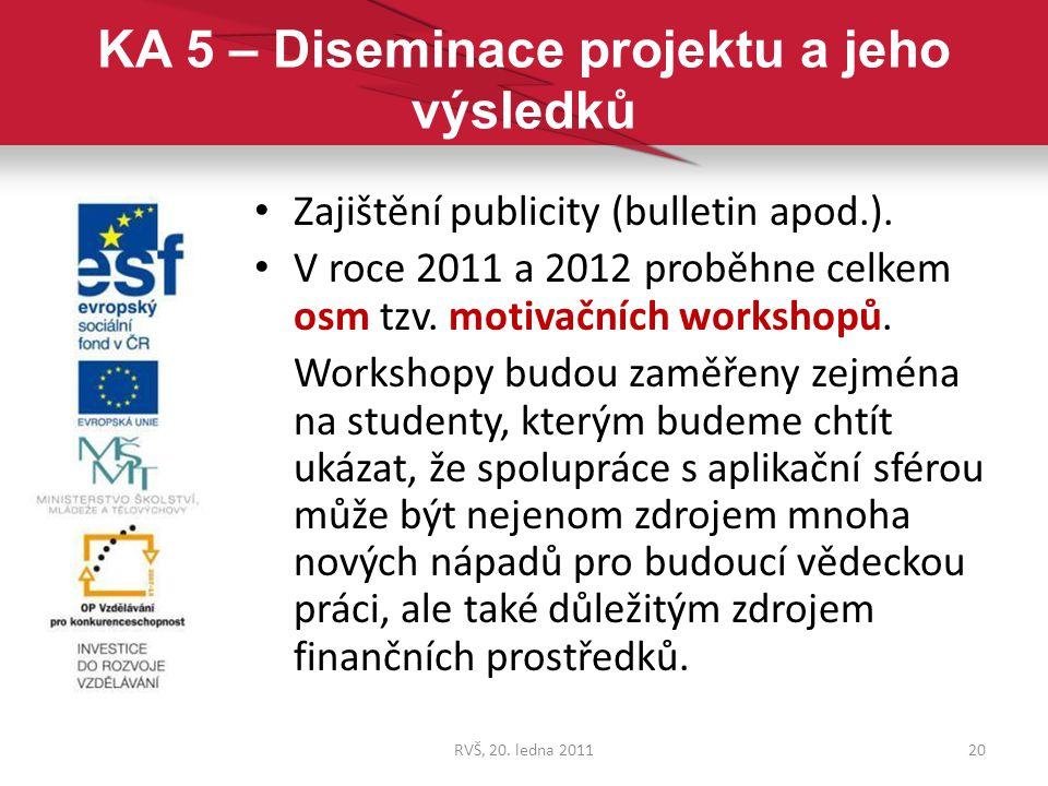 KA 5 – Diseminace projektu a jeho výsledků