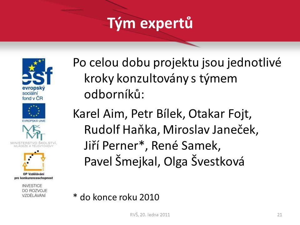 Tým expertů Po celou dobu projektu jsou jednotlivé kroky konzultovány s týmem odborníků: