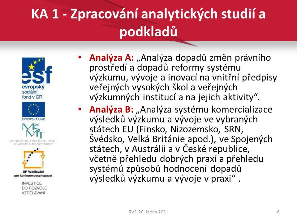 KA 1 - Zpracování analytických studií a podkladů