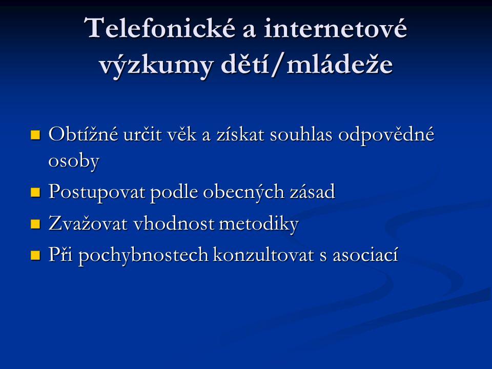 Telefonické a internetové výzkumy dětí/mládeže
