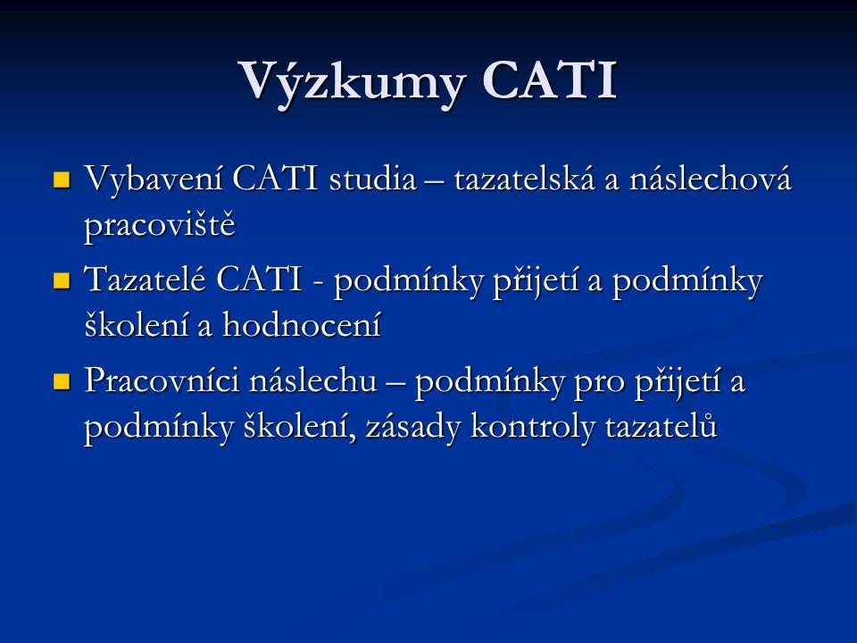 Výzkumy CATI Vybavení CATI studia – tazatelská a náslechová pracoviště