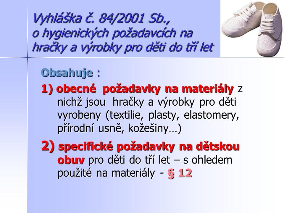 Vyhláška č. 84/2001 Sb., o hygienických požadavcích na hračky a výrobky pro děti do tří let
