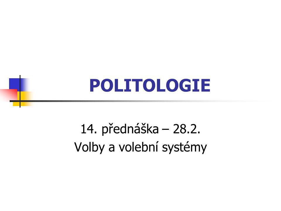 14. přednáška – 28.2. Volby a volební systémy
