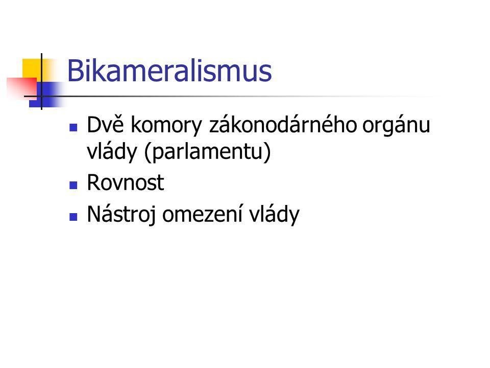 Bikameralismus Dvě komory zákonodárného orgánu vlády (parlamentu)