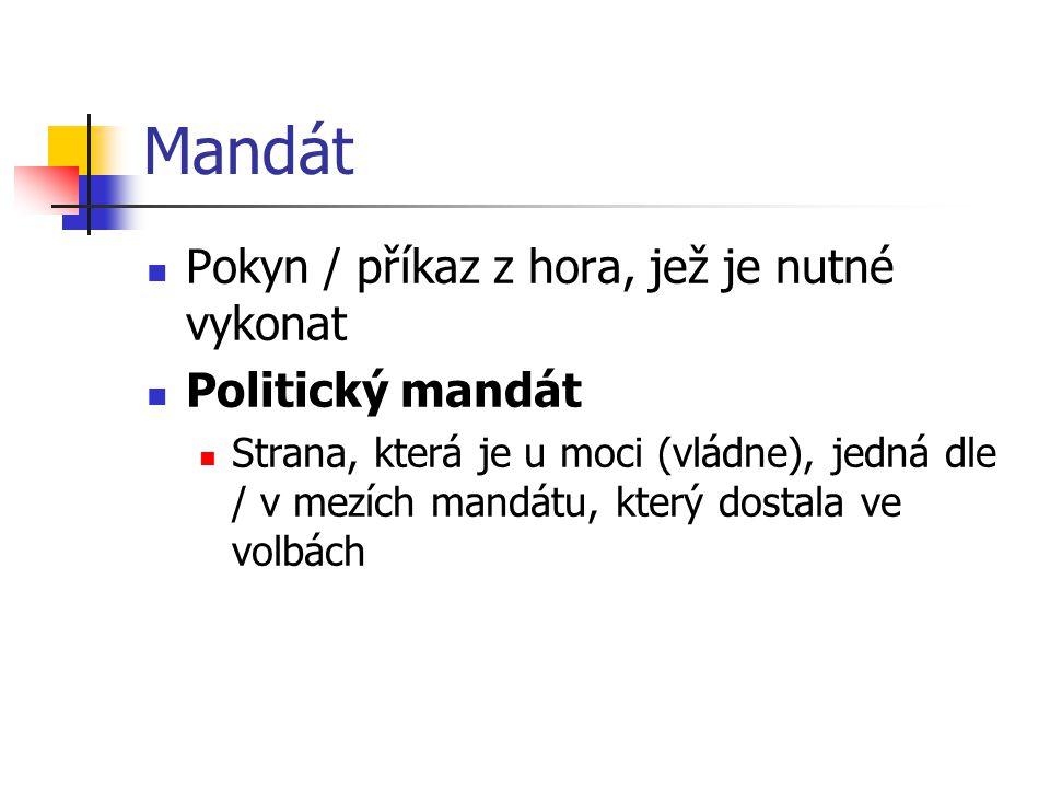 Mandát Pokyn / příkaz z hora, jež je nutné vykonat Politický mandát