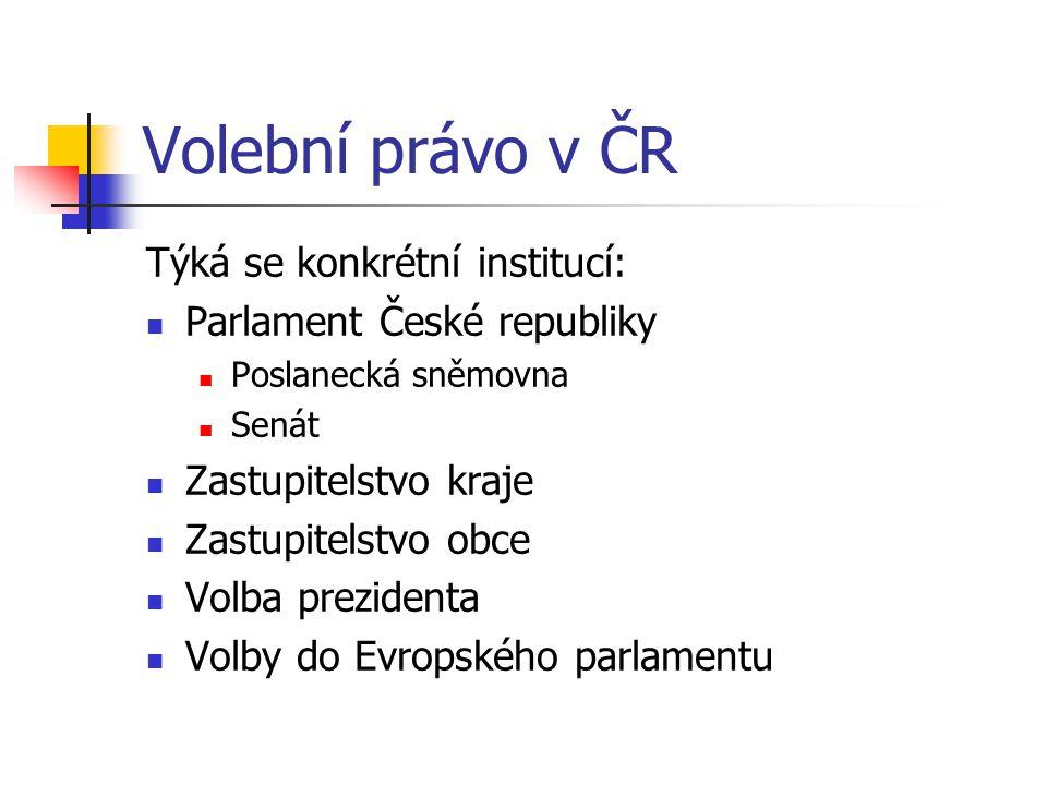 Volební právo v ČR Týká se konkrétní institucí:
