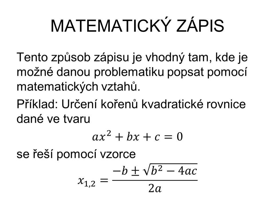 MATEMATICKÝ ZÁPIS