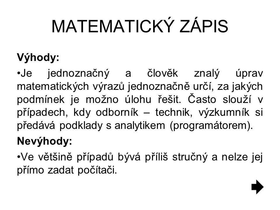 MATEMATICKÝ ZÁPIS Výhody: