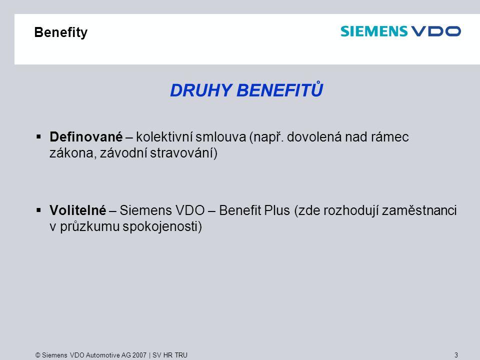 DRUHY BENEFITŮ Benefity