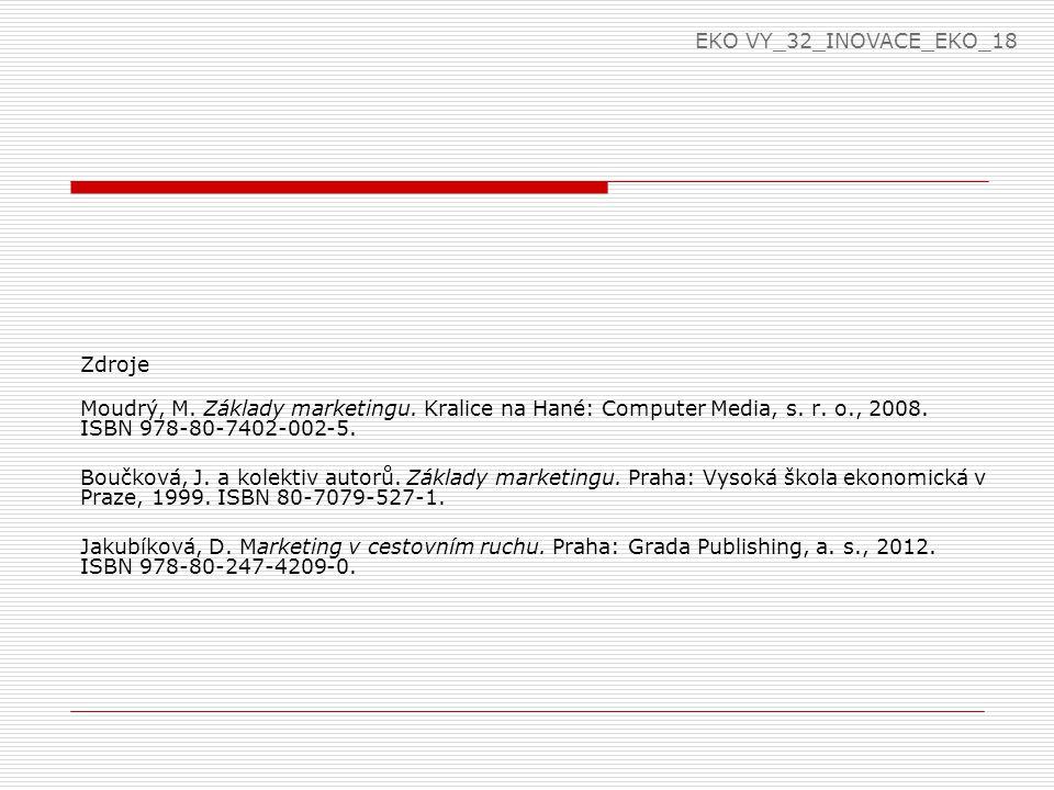 EKO VY_32_INOVACE_EKO_18 Zdroje. Moudrý, M. Základy marketingu. Kralice na Hané: Computer Media, s. r. o., 2008. ISBN 978-80-7402-002-5.