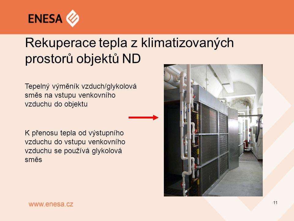 Rekuperace tepla z klimatizovaných prostorů objektů ND