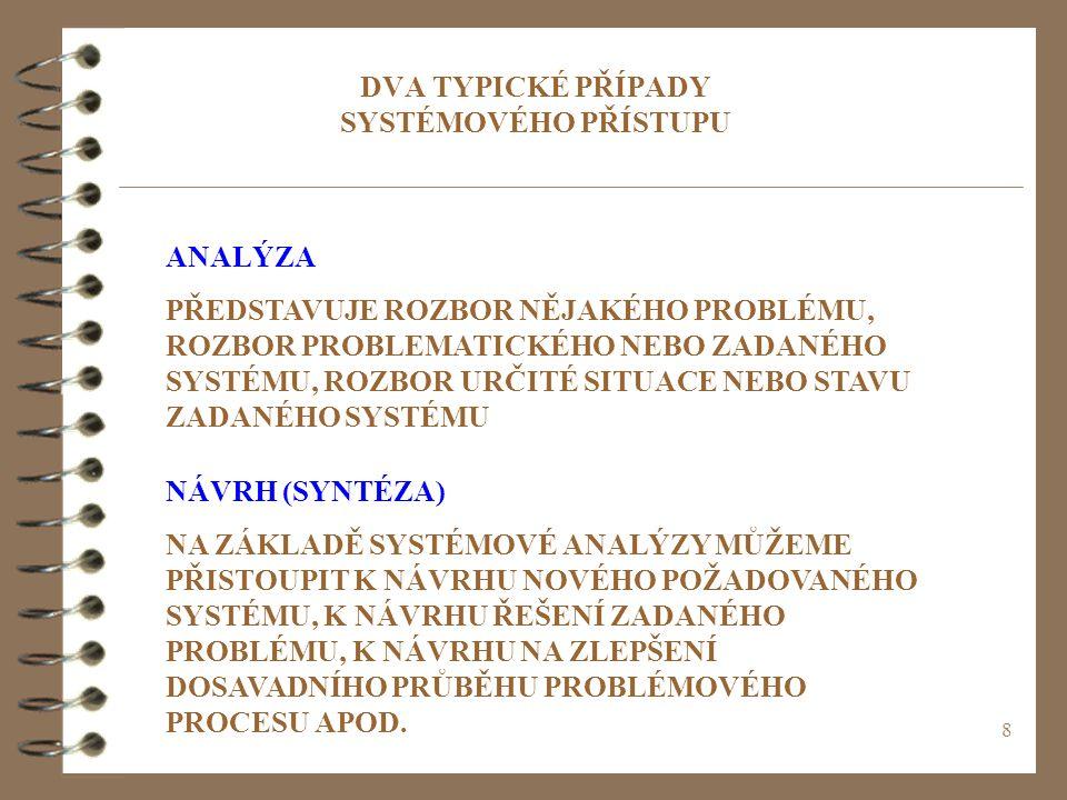 DVA TYPICKÉ PŘÍPADY SYSTÉMOVÉHO PŘÍSTUPU