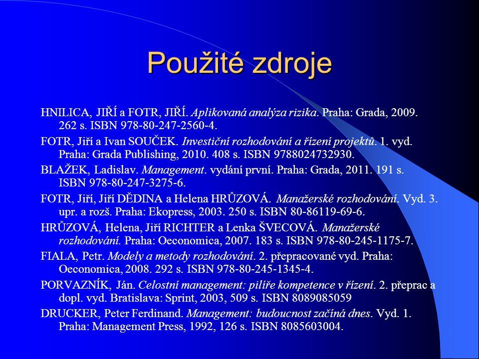 Použité zdroje HNILICA, JIŘÍ a FOTR, JIŘÍ. Aplikovaná analýza rizika. Praha: Grada, 2009. 262 s. ISBN 978-80-247-2560-4.