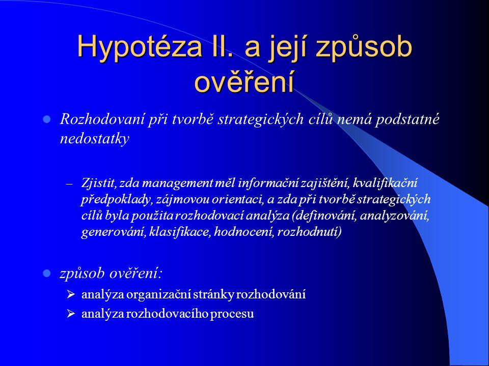 Hypotéza II. a její způsob ověření