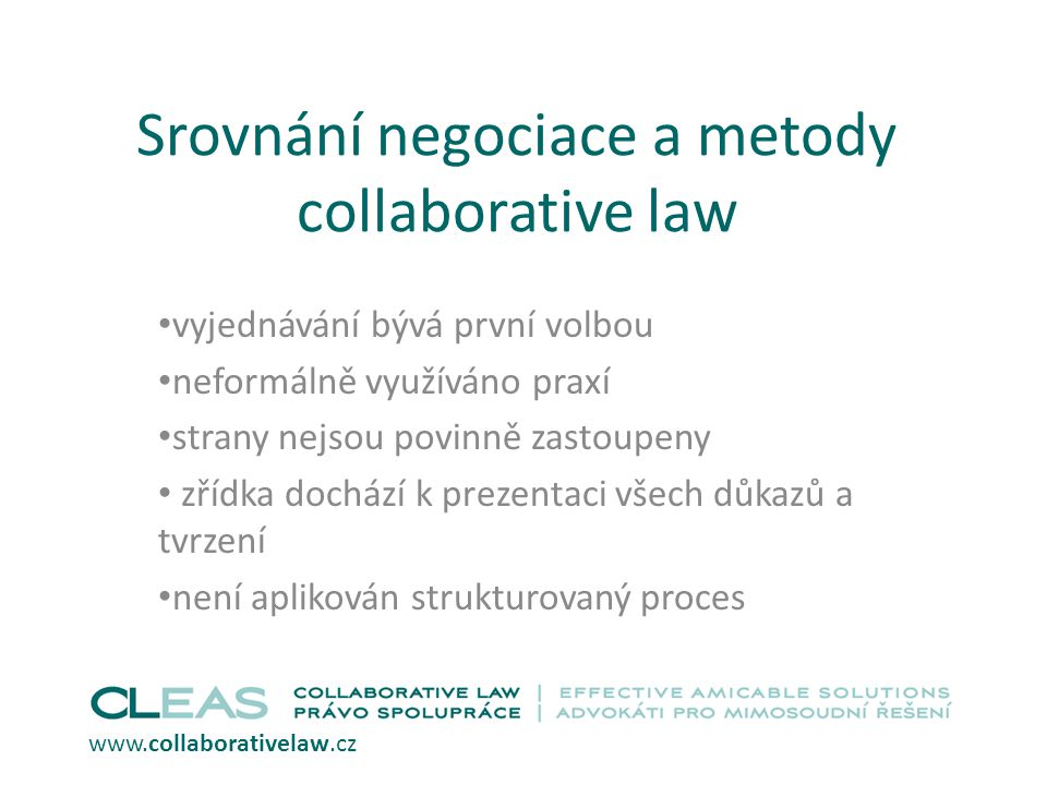 Srovnání negociace a metody collaborative law