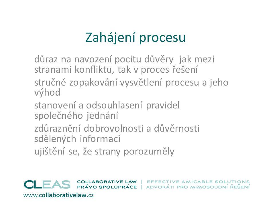 Zahájení procesu důraz na navození pocitu důvěry jak mezi stranami konfliktu, tak v proces řešení.